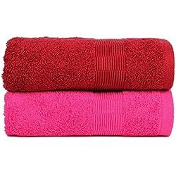 Casa Basics Quick Dry 2piezas Yoga Gimnasio, Viajes, Camping, Exterior, toallas de deportes, color rojo y rosa