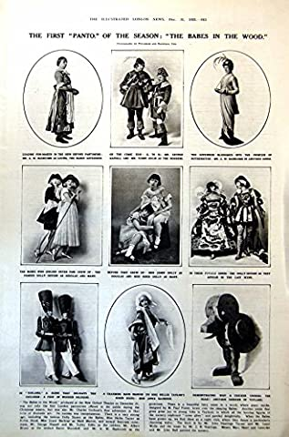 Old Original Antique Victorian Print Babes Wood First Panto Dolly