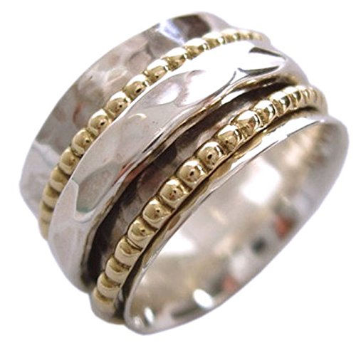 """Energy Stone \""""CLARITY\"""" Ring 1 Hammered 2 Beaded Spinners (Sku# UK01) (6.5)"""