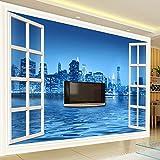 BHXINGMU Murales Fotográficos Personalizados Noches Ventanas Ciudades Fondos De Pantalla De Hoteles Grandes Decoraciones Murales 220Cm(H)×300Cm(W)