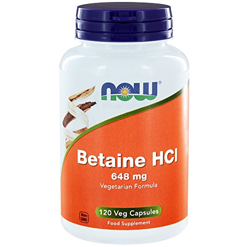 Betain Hcl-120 Kapseln (Now Foods I Betain HCl 648mg I Mit 150mg Pepsin I Vegetarisch I Vegan I 120 Kapseln)