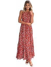 578622806b22 YYD  Femmes Halter sans Manches Élastique Ceinturé Vintage Floral Print  Maxi Dress ...