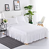 Rock Solid Farbe Baumwolle Tagesdecke Displayschutzfolie Spitze Volants griffigen Bed Sets 120x200cm(47x79inch) weiß