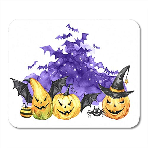 AOHOT Mauspads Watercolor Scary Night Flock of Bats and Holidays Pumpkins Halloween Magic Symbol Horror Vampires Can Be Mouse pad 9.5