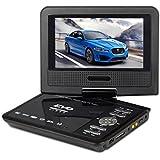 """Gamut-Tek 7.5 """"Lecteur DVD portable avec écran rotatif, support carte SD et USB, Lecture directe dans les formats MP4 / AVI / RMVB / MP3 / JPEG, Noir"""
