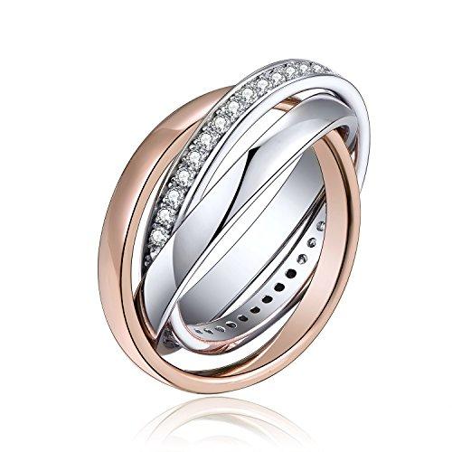 YL Rosegold Ring mit Stein Zirkonia Kristall Verlobungsring 3 Stück Interlock Wickelring Schmuck für Damen und Herren Größe 49-67