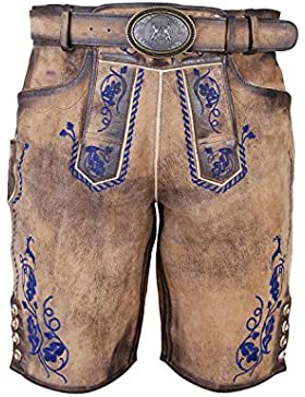 Michaelax-Fashion-Trade Krüger - Herren Lederhose in Braun/Blau, Wildhüter (92646-708)