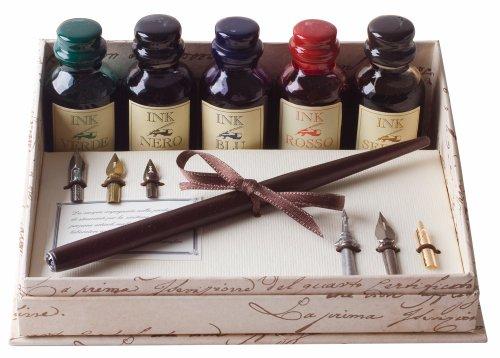 Coles Kalligraphie-Set mit Füller, 5großen Tintenfässern und 6Schreibfedern, aus Holz