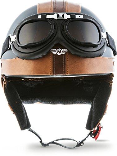 "Moto Helmets® D22-Set ""Vintage Black"" · Brain-Cap · Halbschale Jet-Helm Motorrad-Helm Roller-Helm Scooter-Helm Bobber Mofa-Helm Chopper Retro Cruiser Vintage Pilot Biker Helmet Brille · S (55-56cm)"