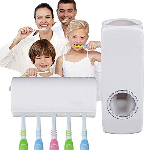 Gazechimp Automatische Zahnpastaspender mit 5 Zahnbürstenhalter Wandhalterung Rack für Kinder Erwachsen Familien - Weiß