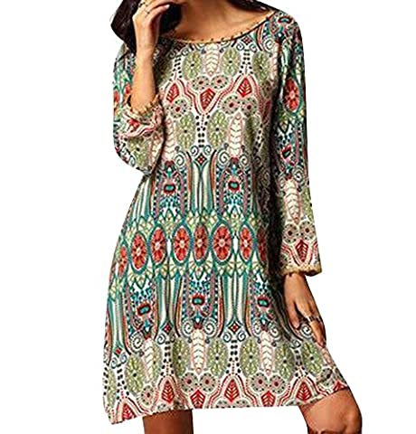 Women's Chic Bohemian Vintage Printed Ethnic Style Loose Casual Tunic Dress