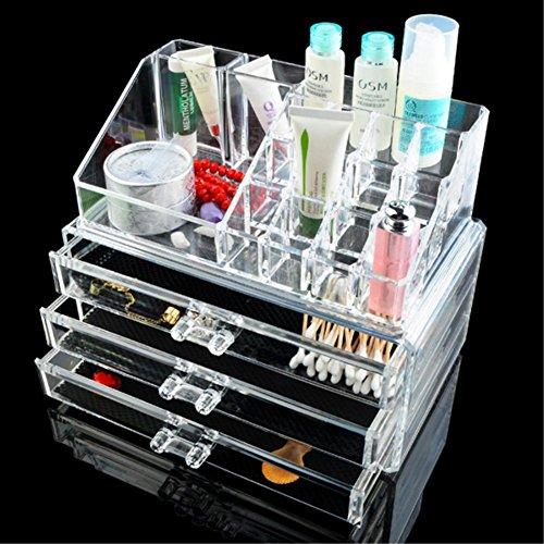 Foto de Organizador de Enyaa, transparente, acrílico, con cajones, para joyería, maquillaje, brochas, artículos de manualidades, 3 cajones