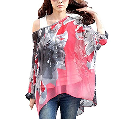 Sannysis Moda Batwing Dolman Sleeve Shirt Damen-Maxi-Chiffon- Blusen Tops (XL, Hot Pink) (Chiffon-bluse Ärmel Batwing)