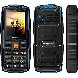 VKworld Stone V3 la más nueva versión IP68 impermeable a prueba de golpes a prueba de polvo Teléfono celular al aire libre teléfono móvil Tri-sim teléfono para ancianos mayor Batería Larga tiempo de espera con luces LED más extra 8GB tarjeta de memoria, azul