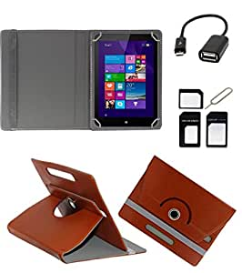 ECellStreet ROTATING 360° PU LEATHER FLIP CASE COVER FOR MACGREEN PAD-7232W 7 INCH TABLET STAND COVER HOLDER - Brown + Free OTG Cable + Free Sim Adapter Kit