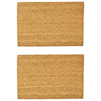 Nicola Spring Non-Slip Natural Coir Door Mats - 60 x 90cm - Plain - Pack of 2 PVC Backed Doormats