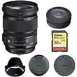 Sigma 24-105mm F/4 DG OS HSM Lens For Nikon (635-306) With Sigma USB Dock For Nikon Lens & Lexar 32GB Professional 1000x SDHC Class 10 UHS-II Memory Card
