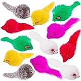 Yangbaga Katzenspielzeug-Maus, 12 Stück, aus Flauschigem Plüsch, Falsche Maus...