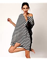 qxj largo Wrap Bikini blusa cubierto hilo en blanco y negro diseño de rayas de largo vestido/Túnica trajes Veil