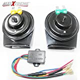 #2: AllExtreme 2pcs Black Waterproof Super Loud Horn Air Siren 12V 510Hz 115dB Speaker with 22 Magic Sounds for Car, Motorcycle, SUV, Bus, Truck and Off Road Vehicles