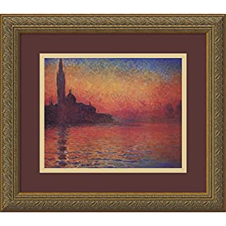 Amanti Art Claude Monet 1908, Sonnenuntergang in Venedig, gerahmt