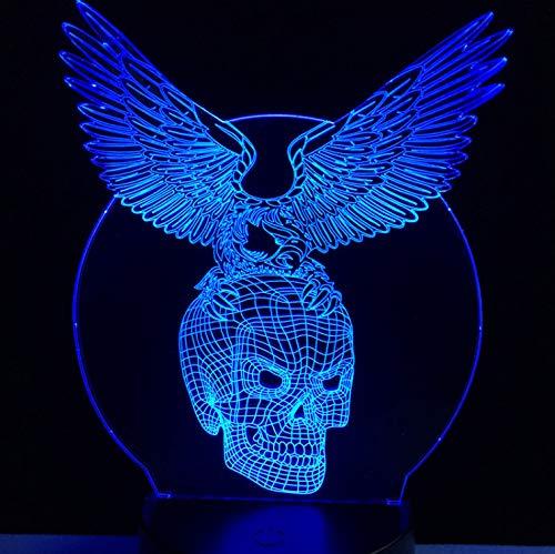 Bösen Flügel Schädel Kopf 3D Usb Led Lampe Halloween Dekorative Stimmung 7 Farben Ändern Party Cool Rgb Nachtlicht Mann ()