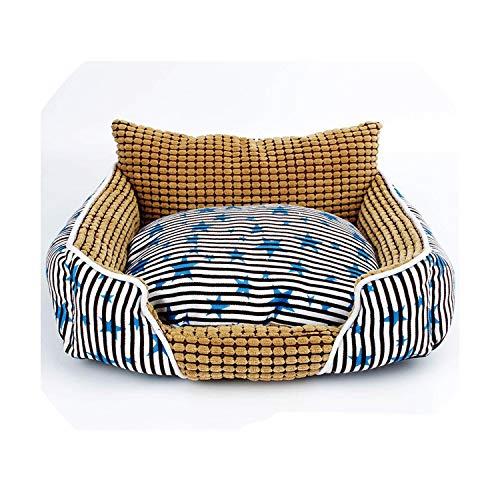 Never Ever Bequeme Haustier-Bett-warmes weiche Fleece-Mais-Velvet-Hundewelpen-Haus-Hundehütte Cozy Cat Nest Mat Sofakissen Hundekissen Pet Products, blau-Platz Hundebett, 55x50x17cm -