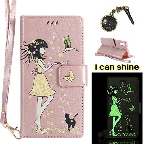 Preisvergleich Produktbild Xperia XZ Hülle Flip-Case Premium Kunstleder Tasche im Bookstyle Klapphülle mit Weiche Silikon Handyhalter Lederhülle für Sony Xperia XZ Luminous Mädchen Katze case Hülle +Stöpsel Staubschutz (6)