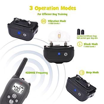 Collier de Dressage WOLFWILL P02 Totalement Etanche IP67 Portée 980 Pieds pour Chien Collier Electrique Press & Act Tech avec Mode Bip/Vibration /Choc/Lumière LED ,Ecran LCD pour Un Chien