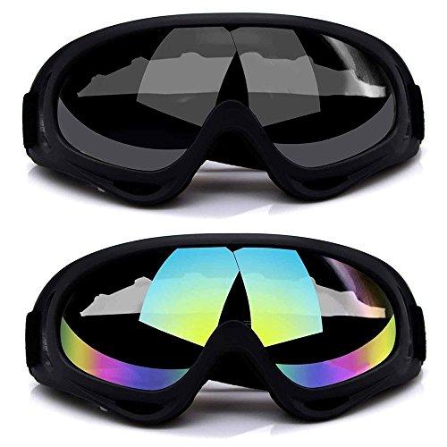Ski-Schutzbrille, QQI 2-Pack Skate Gläser mit UV 400 Schutz Wind- und staubdicht für Snowboard Motorrad Fahrrad (GREY & MUITICOLOR)