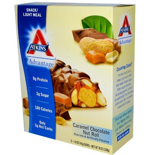 Atkins, Schoko-Nuss-Karamell-Roll, 5 Bars, 1,6 Unzen (44 g) Jeder - Atkins Karamell
