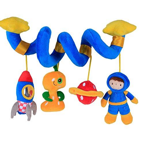 Labebe Baby Kinderwagen / Kinderbett / Baby Auto Sitz / Kinderwagen / Kinderbett Spirale Hängen Aktivität Spielzeug für Kleinkind / Kleinkind / Neugeborenen mit Rasseln & Stofftiere & Teether Duschen Geschenk - Blue Astronaut