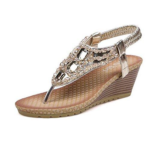 Frauen Sandalen Glitter Wedges Schuhe Heel Sandale Flip Flop Sommer Elastischen Gurt Peep Toe Plattform ()