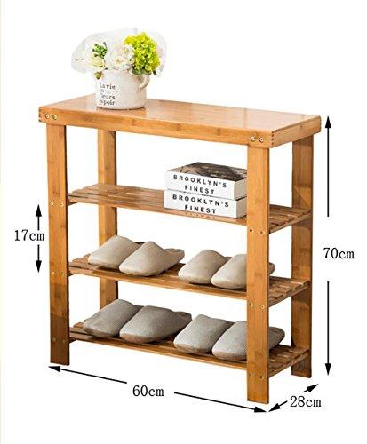 Étagères en bambou étagères en bambou étagères à bas prix en bois massif en bois massif étagères économiques étagères économiques salon de la maison armoire à chaussures (Couleur : B, taille : 60 cm)