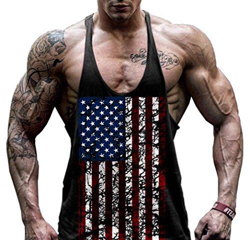 hippolo Gym Herren Tank Top Herren-Stringer Fitness Gym Shirt aus Baumwolle Solid Sport Weste, schwarz schwarz XXL
