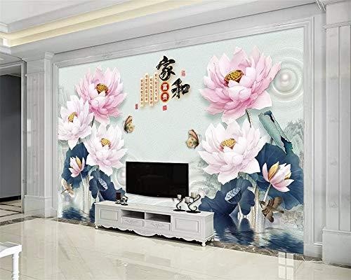 Wandbilder Maßgeschneiderte Moderne Tapete 3D Geprägte Lotus Tinte Landschaft Neuen Chinesischen Hintergrund Wallpaper 3D Wallpaper Wallpaper-450X300Cm,Wandbild -