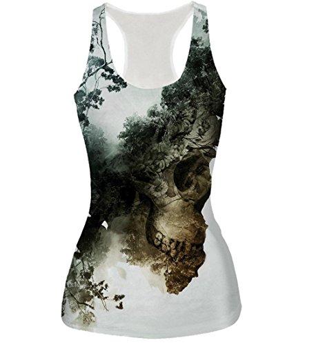 NEWISTAR Frauen Digital gedruckte Weste-Trägershirt Weiß Graphic ärmel-T-Shirt (1 Sport-grafik-t-stücke)