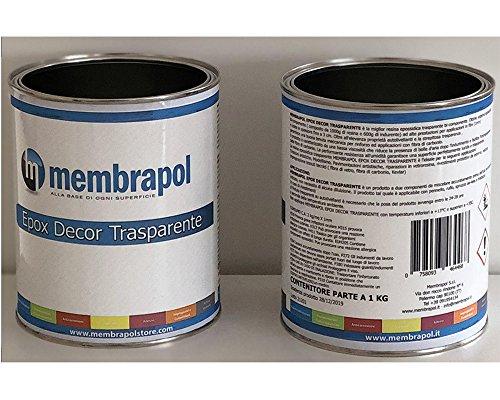 Membrapol Epox Decor Trasparente Resina Epossidica Auto Livellante, Trasparente, 1,6 Kg