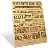 Iconic Motivational Crazy Ones Quote By Steve Jobs Engraved In Wooden Plaque By Engrave_Small