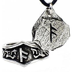 Colgante Vikingo con Runa y Anillo Rúnico - Set de Regalo para Hombres y Mujeres (A - ANSUZ)