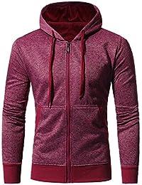 Longra Homme Garçon Veste Zipper Manteau à Capuchon avec Poche Uni Outwear  Blousons mi Saison Veste 1193538b121