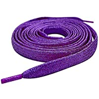 Nylon Glitter Flat Shoe Laces, 120cm/47.24inch Sparkle Flat Shoe Laces Metallic Purple for Kids Adult Nike Adidas Vans Trainers(1 Pair)