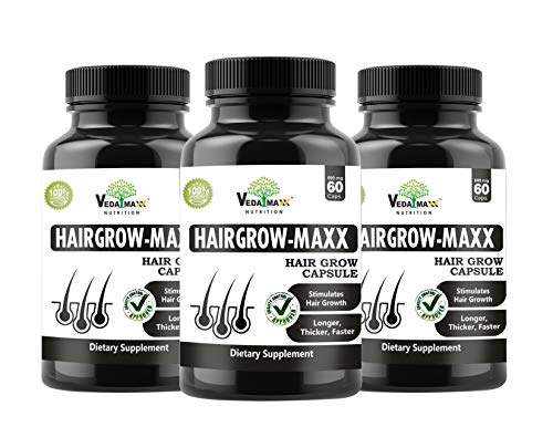 VEDA MAXX Hair Grow Maxx Capsules Supplement for Longer, Thicker and Faster Hair Growth 100% Natural Vegetarian Tablet (Pack of 01-60 Capsules)