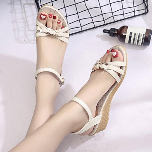 Women's Sandals,Kaiki Sommer Sandalen Frauen Hang Flache Schuhe Römische Sandalen Schuhe Frau Flip Flops Beige