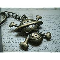 Llaveros / collar de bronce de metal que representa el logotipo de One Piece