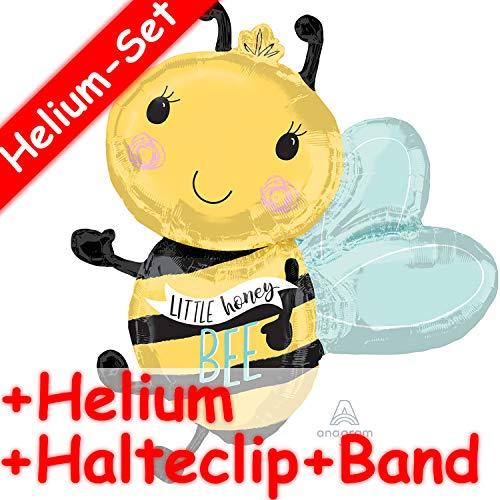 Folienballon Set * BIENE * + HELIUM FÜLLUNG + HALTE CLIP + BAND * für Kindergeburtstag und Motto-Party   Aufgeblasen mit Ballongas   Deko Dekoration Folien Ballon Kinder Geburtstag Honey Bee (Dekorationen Bee Honey)