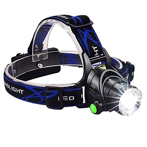 LED Stirnlampe/Wasserdichte Taschenlampe/ 3500 Lumen Super Hell USB Wiederaufladbare Kopflampe Headlight, 3 Helligkeiten, 90° Verstellbar, Fokusverstellbar, mit Hinten Warnlicht