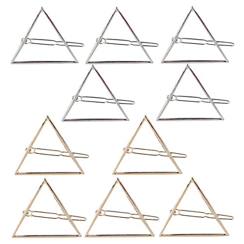 PIXNOR 10pcs triangolo vuoto metallo forcina capelli Clip mollette (oro e argento)