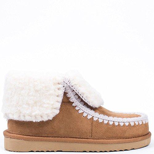 Ideal Shoes - Boots fourrés avec coutures apparentes Lolinie Camel