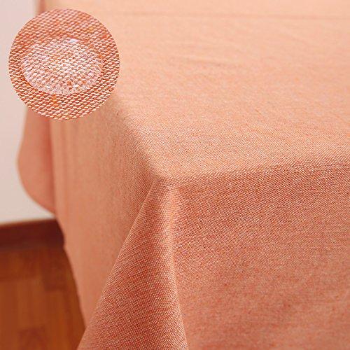 Kunststoff-tischdecke Große (Deconovo Tischdecke Wasserabweisend Tischdecke Lotuseffekt Tischwäsche 140x240 cm Orange)